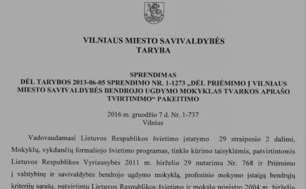 Keičiama priėmimo į Vilniaus mokyklas tvarka