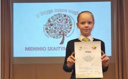 Geriausia Vilniaus miesto 3–4 klasių mokinių meninio skaitymo skaitovė!
